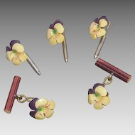 Dainty Vintage Pansy Stud and Cufflink Set; early plastic; Doll