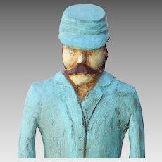 Folk art Confederate Soldier Wood Carving Signed Primitive; Civil War
