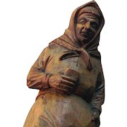 Old Peasant Woman with Missal or Bible Figural, Wood Carving, Unpainted, Hand done, Great details
