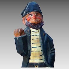 Sailor with Striped Shirt, Wood Carving, Figural, Captain Ahab