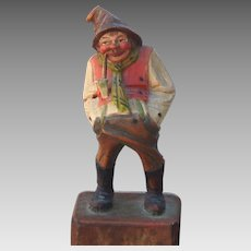 Swiss or German Mountain Man Wood Carving with Pipe, Black Forest