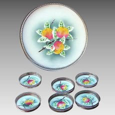 German Sternauware NY Porcelain Tray with Matching Coasters, early 1900s, fruit motif