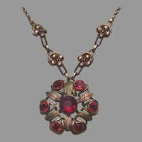 Raspberry Red Glass Bates and Bacon Vintage Deco Necklace