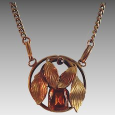 Gorgeous citrine glass and brass vintage necklace long length