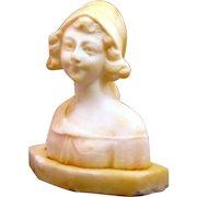 "Italian Alabaster Young Countrywoman Sculpture ""Contadinella"""