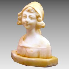 "Italian Alabaster Young Countrywoman Sculpture ""Contadinella"""