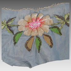 Gray embroidered fabric piece or remnant; vintage