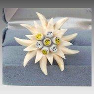 Vintage carved bone Edelweiss flower