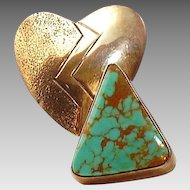 Turquoise pyramid, sterling heart, lightning bolt brooch
