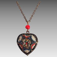 Micromosaic vintage Heart necklace; marked made in Italy