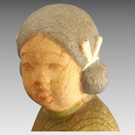 Oriental,Asian, Japanese Girl with Dog Carved Wood Sculpture, Signed