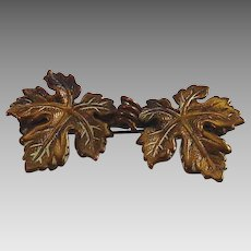 Two Leaves with tendril, brass tone metal, great detail bar pin or brooch