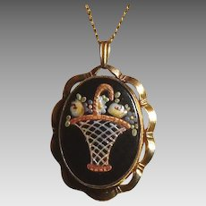 Hand painted enamel Art Deco sentimental photo locket with basket of roses and forget me nots
