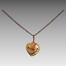 Petite Victorian MOP Mother of Pearl Heart Pendant and Necklace with Initial