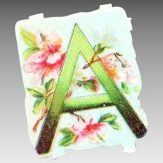 "Die cut ""A"" letter"