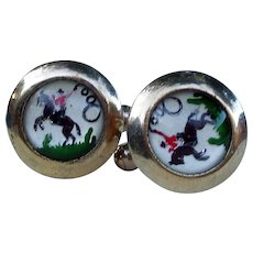 Cowboy cufflinks, probably mid century