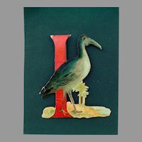 Die Cut I letter with Ibis bird