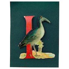 Die Cut I letter with Ibis bird