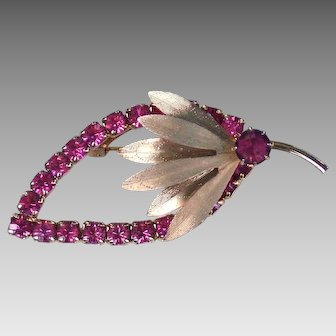 Pink Rhinestone gold tone leaf brooch