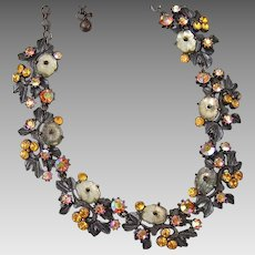 Florenza Japanned Fruit Salad necklace with AB Aurora Borealis Amber Rhinestones and Opalescent Molded Glass Flowers