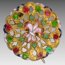 Enamel Fleur de Lis filigree brooch with green and red stones; pendant as well