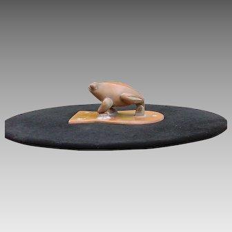 Frog or Toad Brass Copper Patina Door Knocker