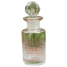 Incised or Cut Glass Perfume Bottle with Glass stopper