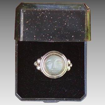 Carved Moonstone Sterling Ring