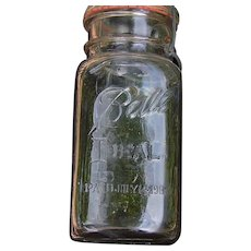 1908 Ball Jar with glass top and rubber seal