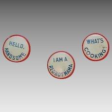 Vintage Metal Lapel pins with sayings