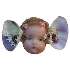 Handmade Cherub Doll Brooch with Shells and Stars
