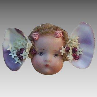 Handmade Cherub Doll Brooch with Shells and Stars