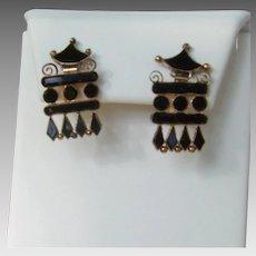 Victorian Jet Glass Pagoda Earrings; screw type