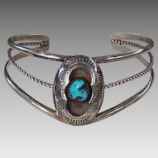 Turquoise silver shadowbox bracelet