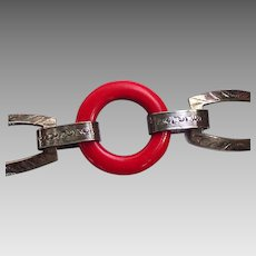 Art Deco Red Bakelite, Early Plastic Silver Tone Bracelet