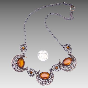 Filigree Crescent Moon with Citrine faceted stones necklace