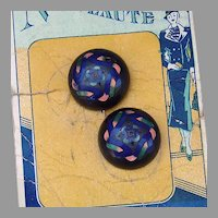 Nouveaute Enamel Buttons on original card