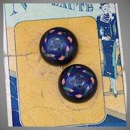 Nouveaute Enamel Buttons on original card