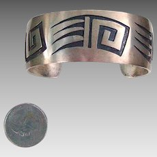 Sterling Navajo Bear Claw Wide Cuff Bracelet; signed by artist