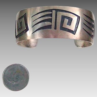 Sterling Navajo Bear Claw Wide Cuff Bracelet; signed by artist