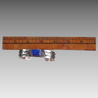 Hand made Lapis and Sterling Silver Cuff Bracelet with stamped design