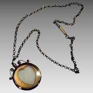 Edwardian two sided picture locket with pastes and cutout heart frame