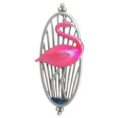 Pink Flamingo - JJ pin brooch - vintage Jonette Jewelry brooch