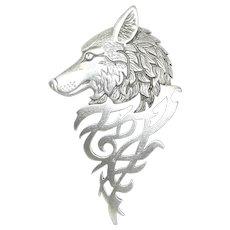 Tribal Wolf - vintage JJ pewter pin