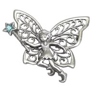 Fairy Elf with Wand - pewter pin - JJ Jonette