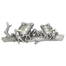 Frogs on a Log - pewter - JJ pin brooch