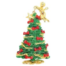 Christmas Tree with Angel - AJC pin - enamel
