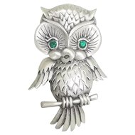 Owl - J.J. pin JJ brooch - pewter