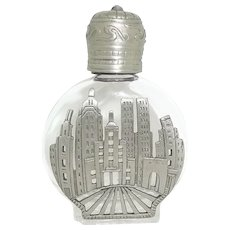New York City Skyline Towers - vintage Perfume Bottle - Clear Glass pewter JJ