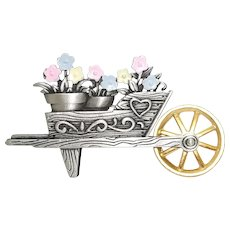 Wheelbarrow with Flowers - JJ pin brooch